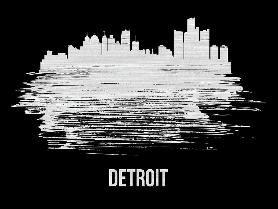 Detroit Mixed Media - Detroit Skyline Brush Stroke White by Naxart Studio