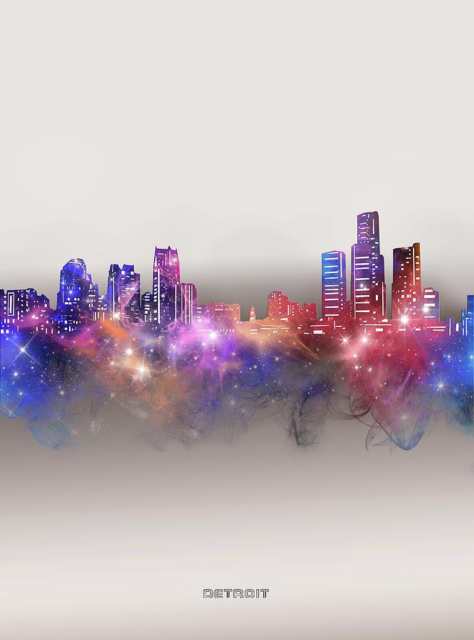 Detroit Digital Art - Detroit Skyline Galaxy by Bekim M
