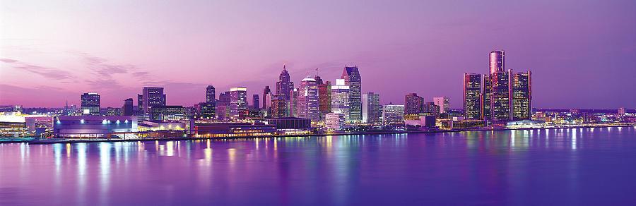 Detroit Under Purple Sky Photograph by Jeremy Woodhouse