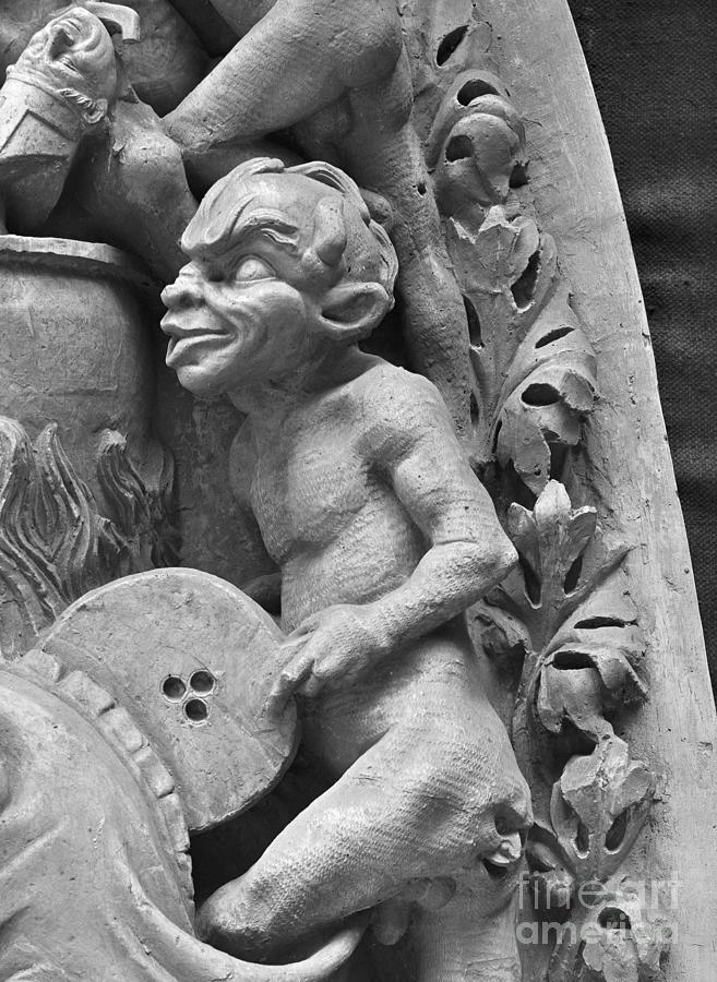 Flame Sculpture - Devil Fanning The Fire, From The Last Judgement Of The Cathedral Of St Etienne In Bourges  by French School