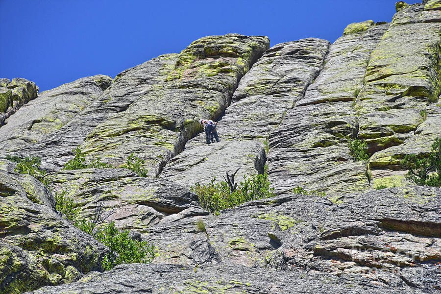 Devils Tower Climber Nears Summit Photograph