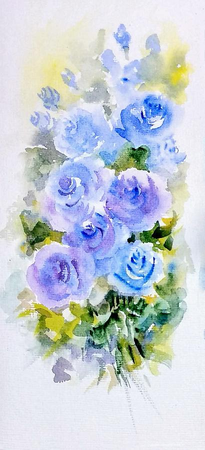 Dew fresh blue roses by Asha Sudhaker Shenoy