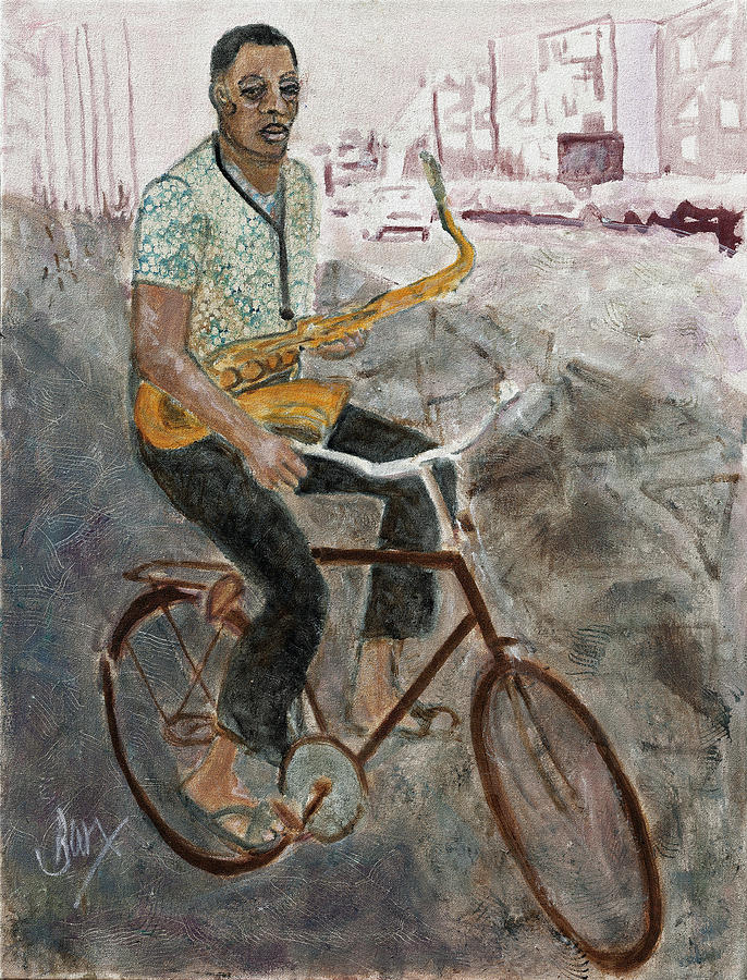 Bicycle Painting - Dexter Rides Again by David Barkham