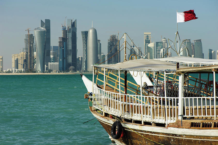 Dhows In The Harbor Of Doha, Qatar On Photograph by Ajansen