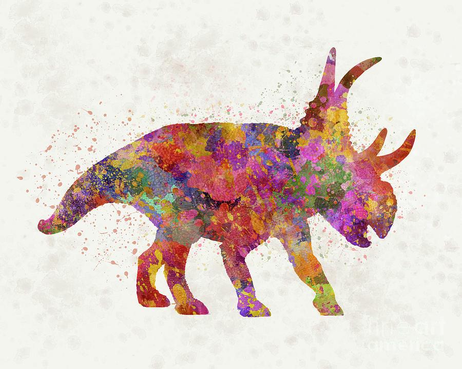 Diabloceratops dinosaur in watercolor by Pablo Romero