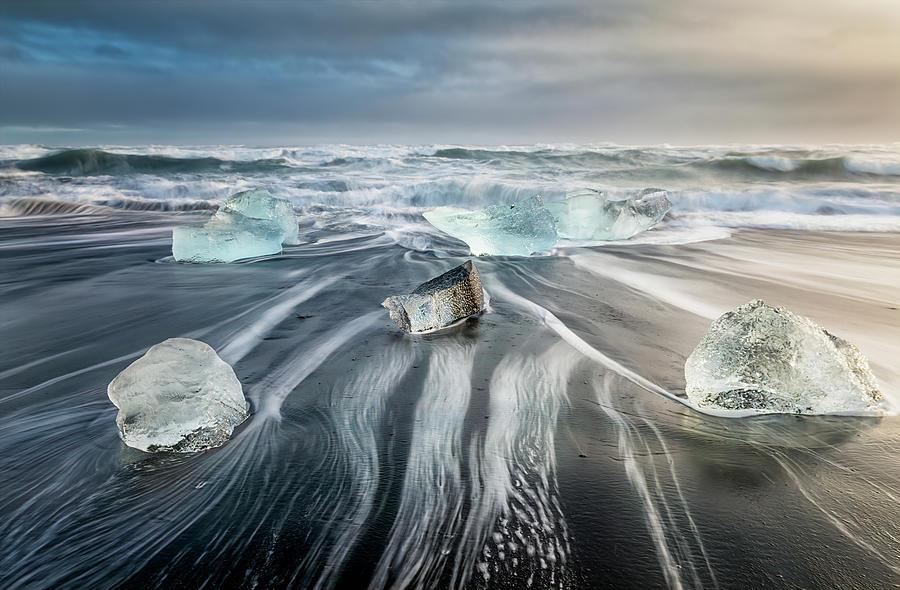 Diamond Beach Iceland V by Joan Carroll