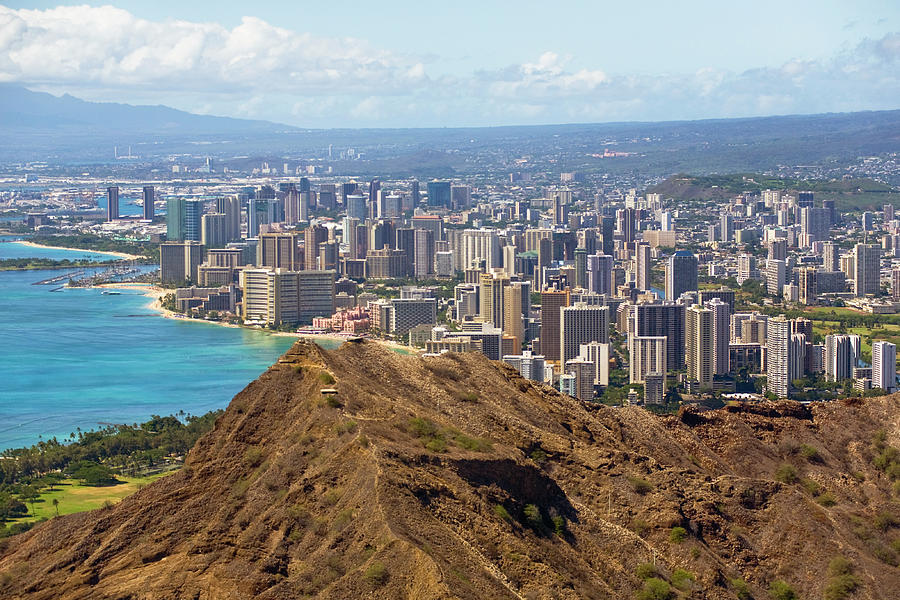 Diamond Head Crater And Honolulu Shore Photograph by Merten Snijders