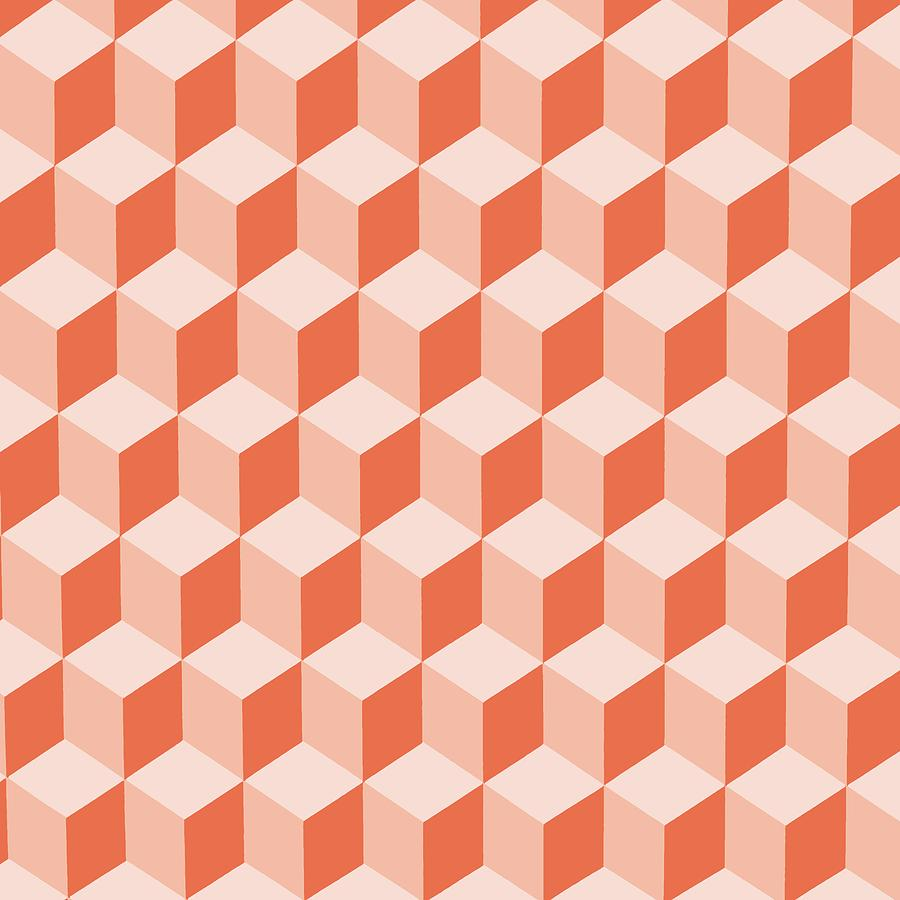 Diamond Repeating Pattern In Living Coral by Taiche Acrylic Art