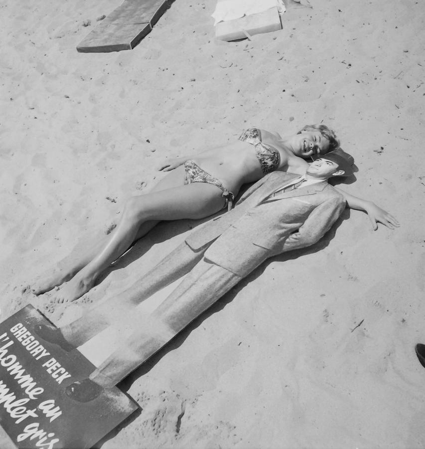 Diana Dors Lying On The Beach At Cannes Photograph by Keystone-france
