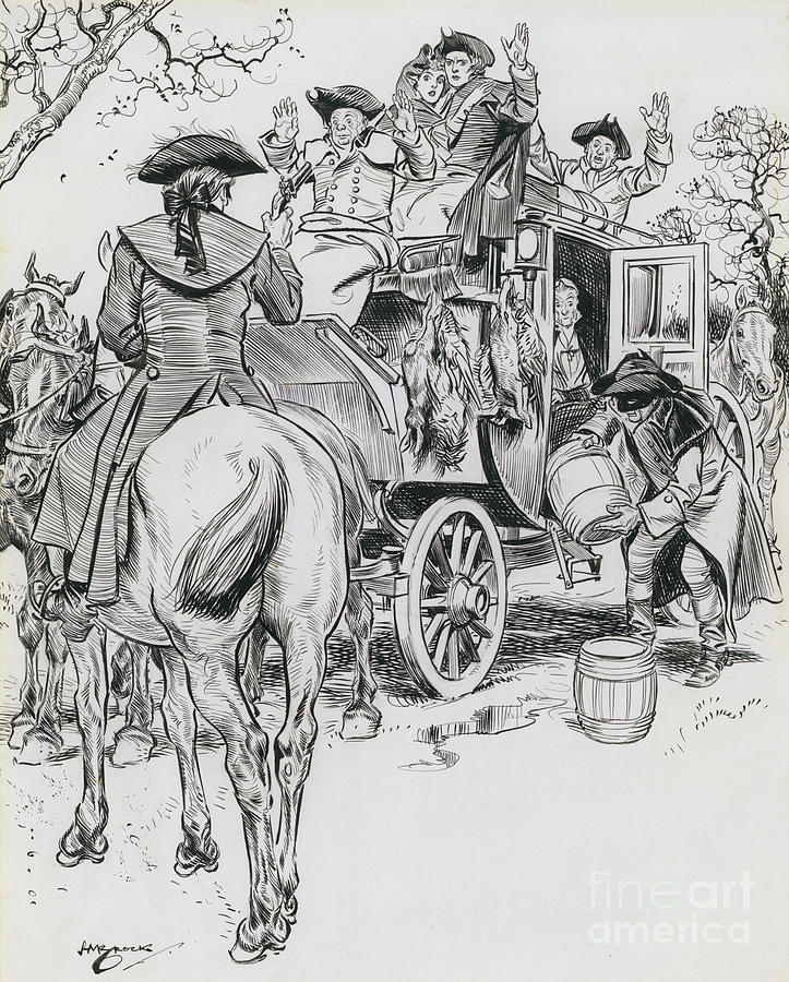 Highway Robbery Drawing - Dick Turpin, Rookwood by Henry Matthew Brock