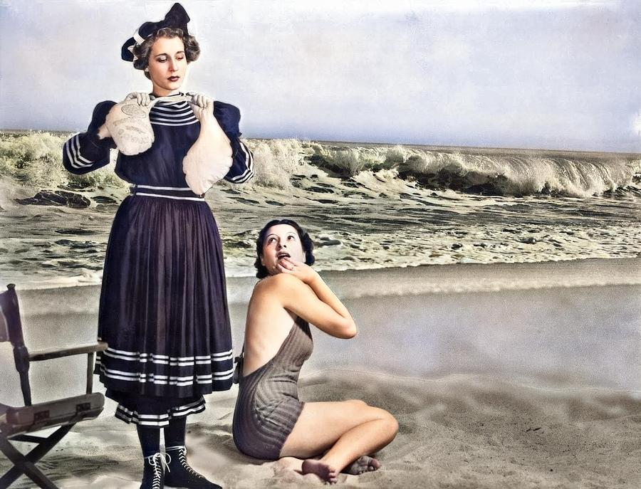 Dick Whittington - Old Fashioned Bathing Suit Scene, Southern California, 1936 Colorized By Ahmet As Painting