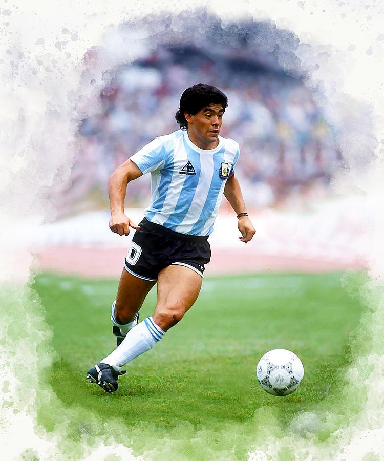 Diego Maradona Digital Art By Karl Knox