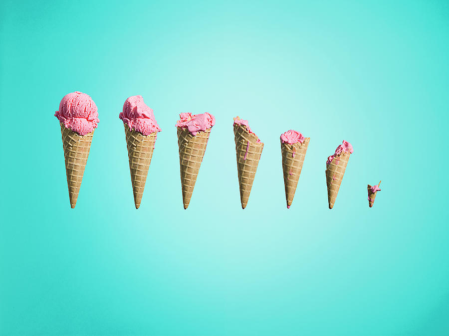 Different Stages Of Eaten Ice Creams Photograph by Jonathan Knowles