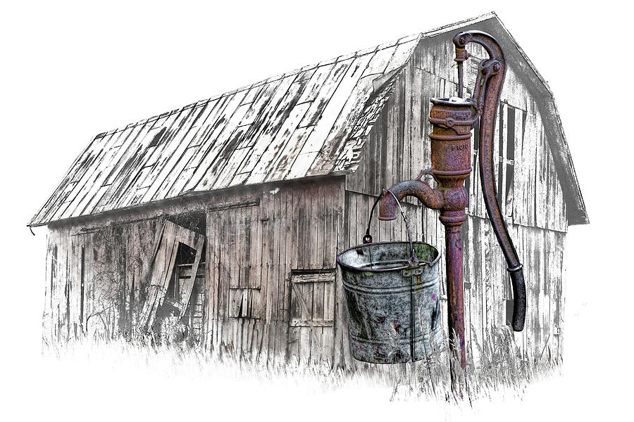 Digital Art of Old Water Pump with Metal Bucket by an Old Barn by Randall Nyhof