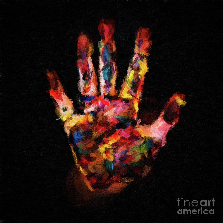 Digital Oil Painting of Paint Covered Hand by Amy Cicconi