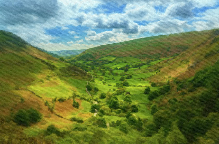 Digital oil painting of the view down valley from top of Pistyll by Steven Heap