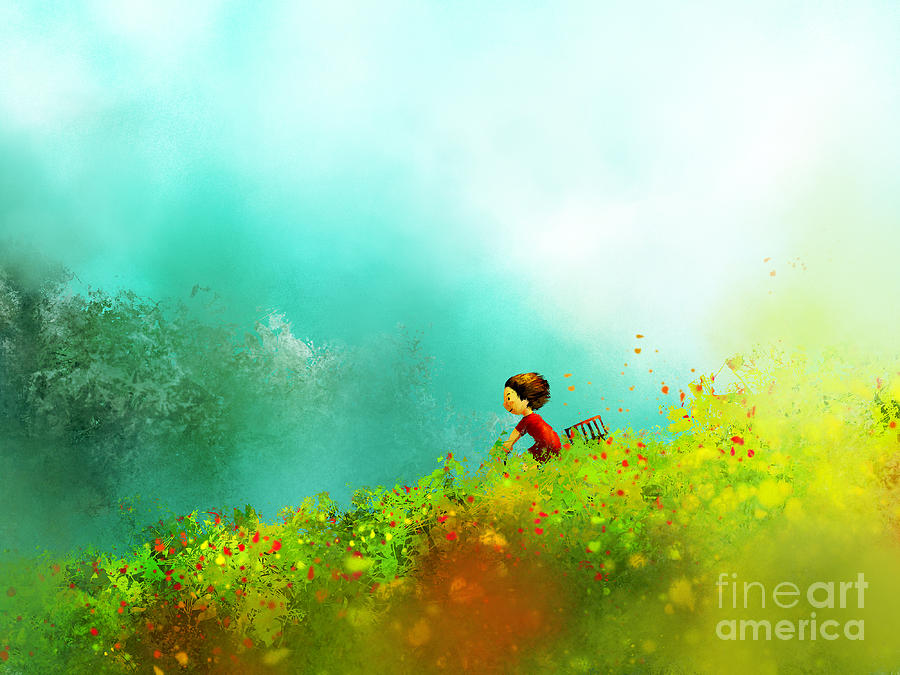 Fur Digital Art - Digital Painting Of Girl In Red Dress by Archv