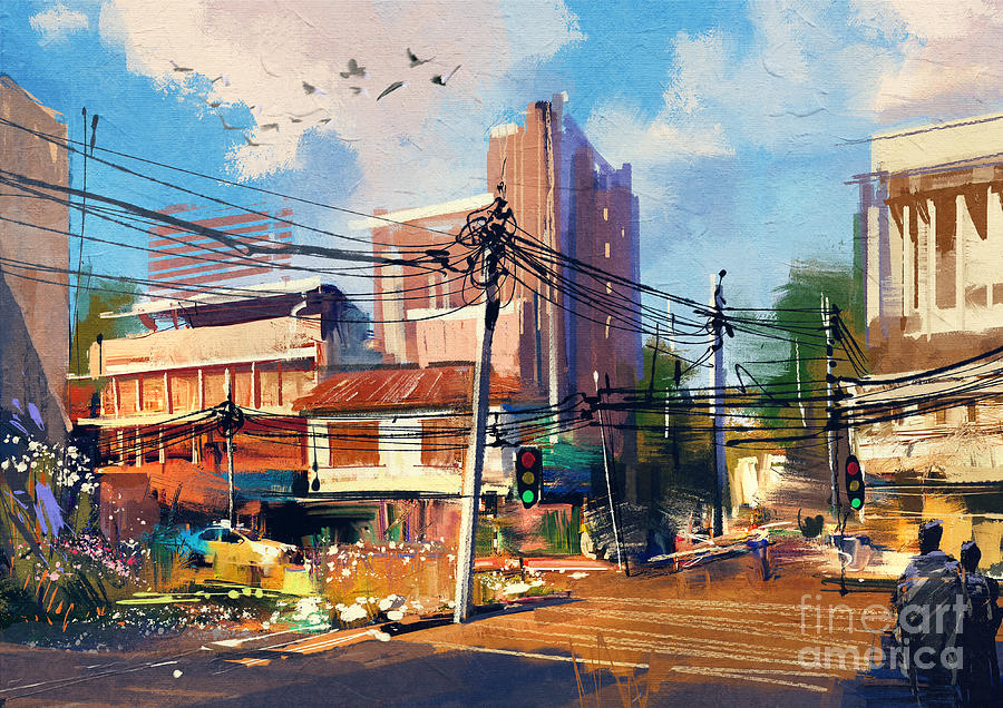 City Digital Art - Digital Painting Of Street Scene With by Tithi Luadthong