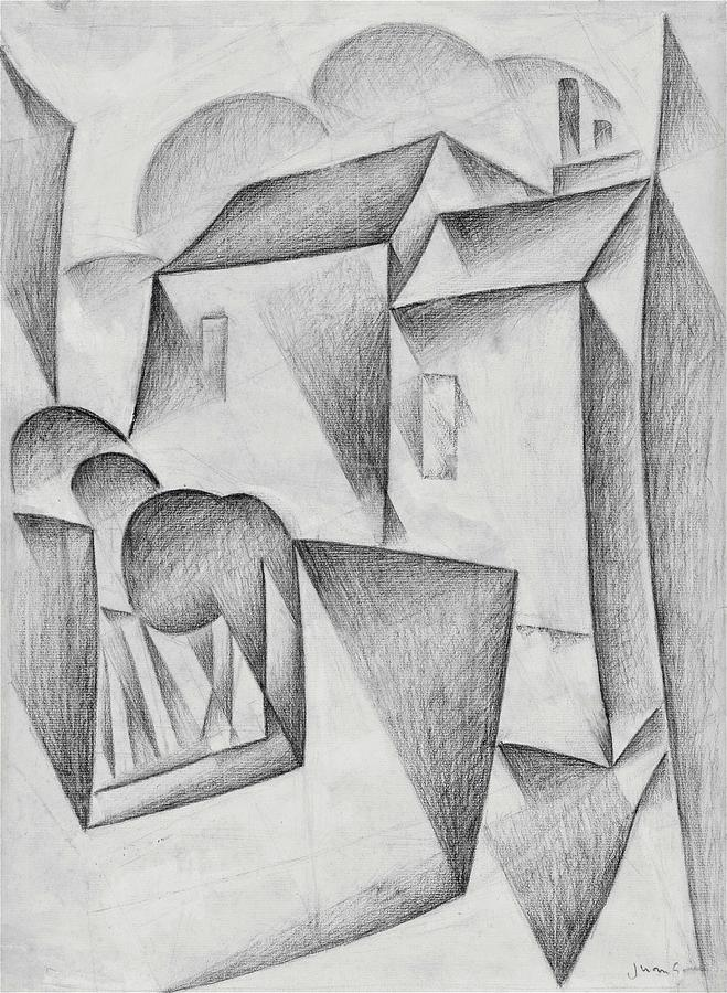 Houses Drawing - Digital Remastered Edition - Houses In Paris, Place Ravignan - Original White by Juan Gris