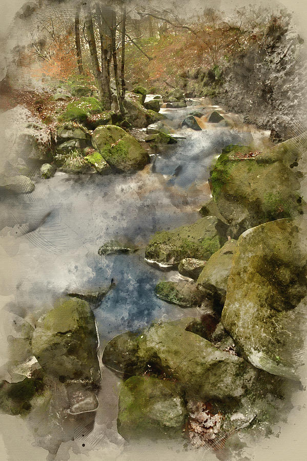 Landscape Photograph - Digital Watercolor Painting Of Autumn Fall Forest Landscape Stre by Matthew Gibson