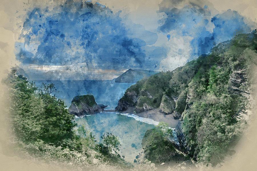 Landscape Photograph - Digital Watercolor Painting Of Beautiful Dramatic Sunrise Landsa by Matthew Gibson