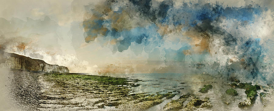 Landscape Photograph - Digital Watercolor Painting Of Beautiful Landscape Panorama Suns by Matthew Gibson