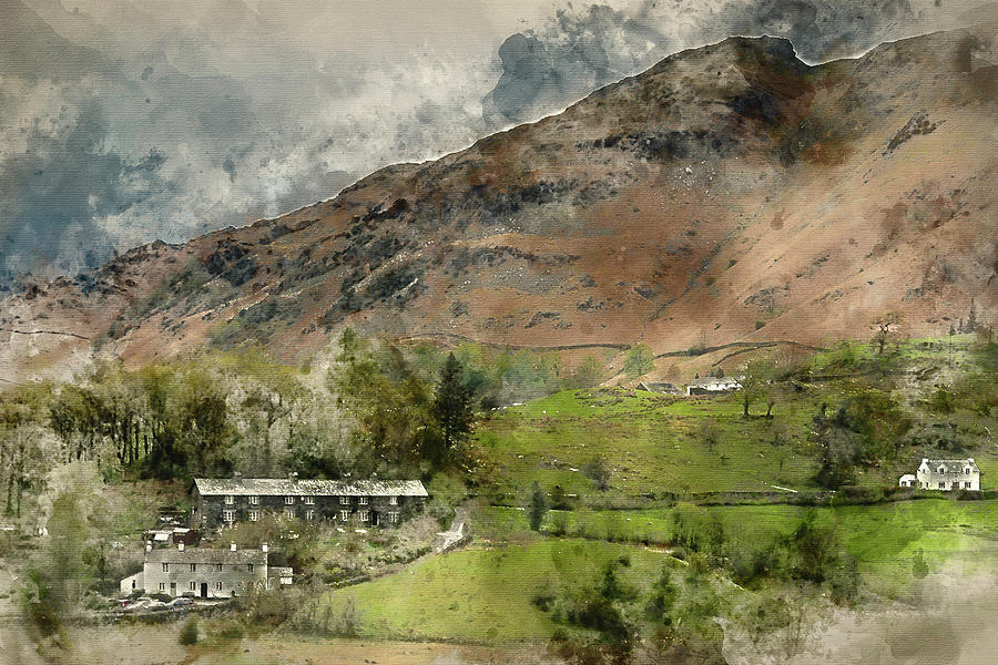 Elter Water Photograph - Digital Watercolor Painting Of Beautiful Old Village Landscape N by Matthew Gibson