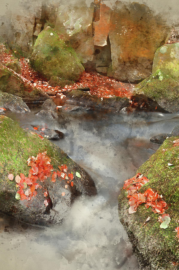 Landscape Photograph - Digital Watercolor Painting Of Blurred Water Detail With Rocks N by Matthew Gibson