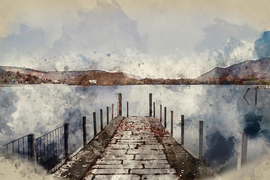 Landscape Photograph - Digital Watercolor Painting Of Landscape Image Of Derwent Water  by Matthew Gibson