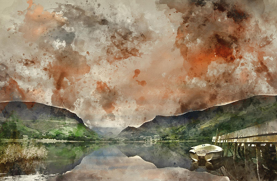 Landscape Photograph - Digital Watercolor Painting Of Llyn Nantlle At Sunrise Looking T by Matthew Gibson