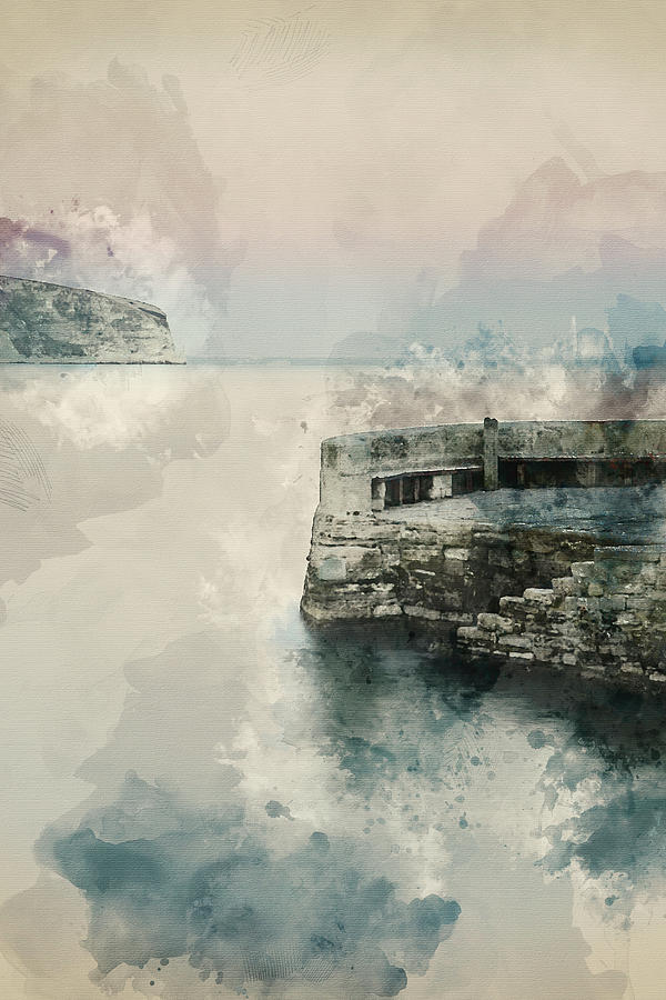 Landscape Photograph - Digital Watercolor Painting Of Peaceful Landscape Of Stone Jetty by Matthew Gibson