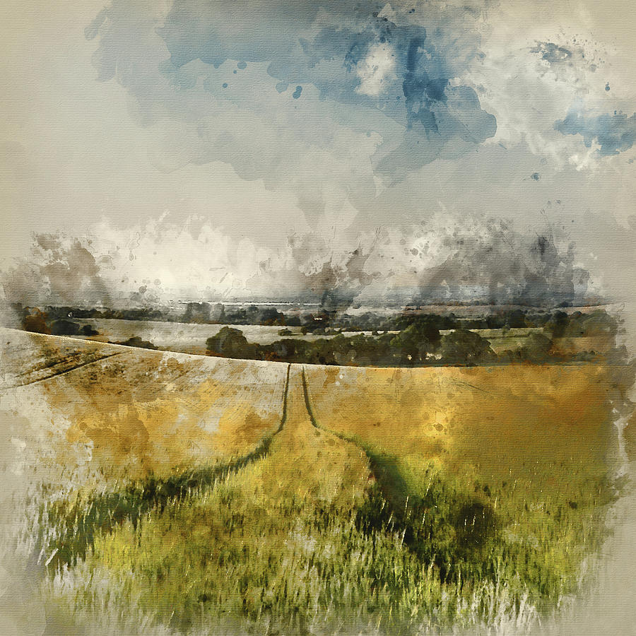 Landscape Photograph - Digital Watercolor Painting Of Stunning Countryside Landscape Wh by Matthew Gibson