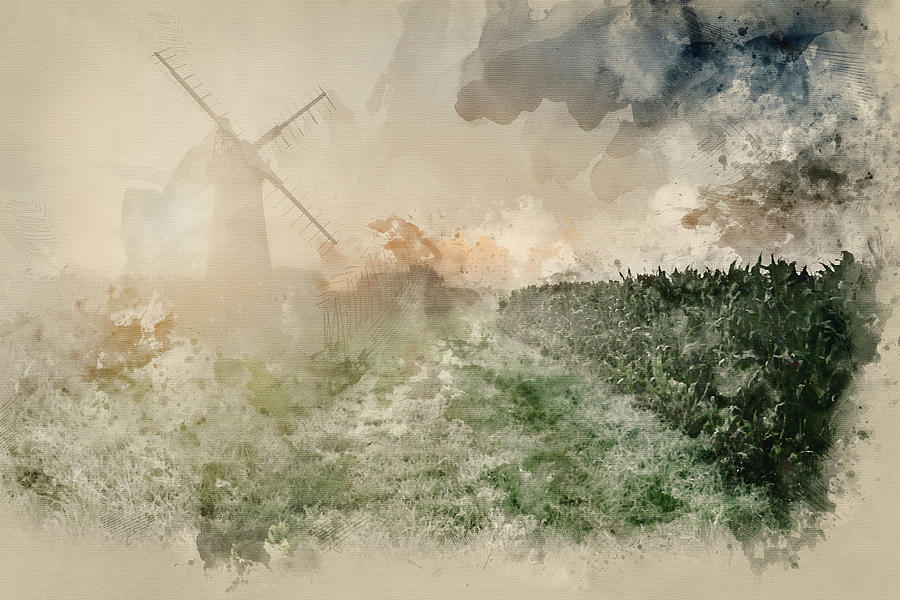 Windmill Photograph - Digital Watercolor Painting Of Windmill In Stunning Landscape On by Matthew Gibson