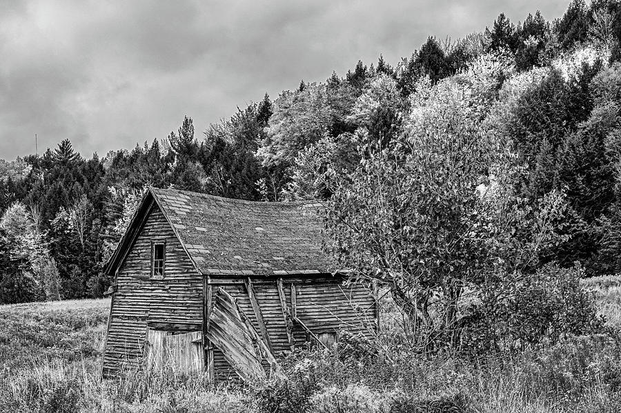 Dilapidated building Waterbury VT Fall Foliage Black and White by Toby McGuire