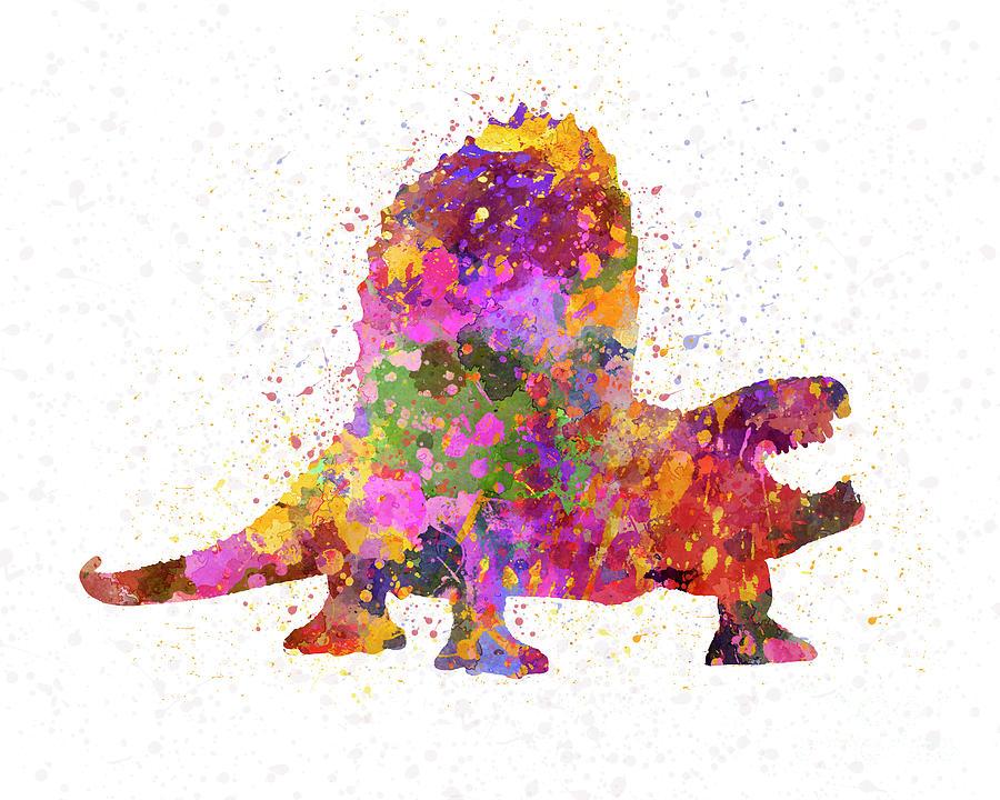 Dimetrodon dinosaur in watercolor by Pablo Romero