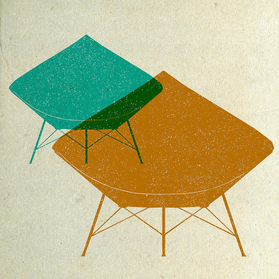 Mid-century Digital Art - Dimond Lounge Chairs II by Naxart Studio