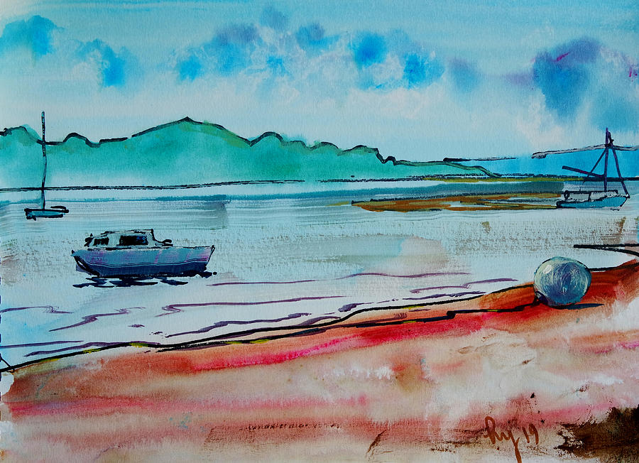 dinghy and sail boats on River Exe en plein air riverbed by Mike Jory