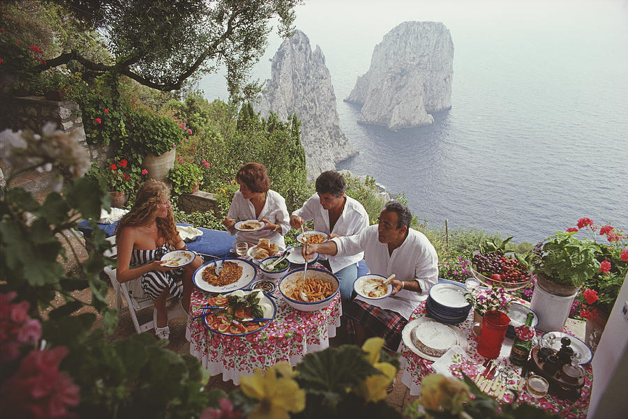 Dining Al Fresco On Capri Photograph by Slim Aarons