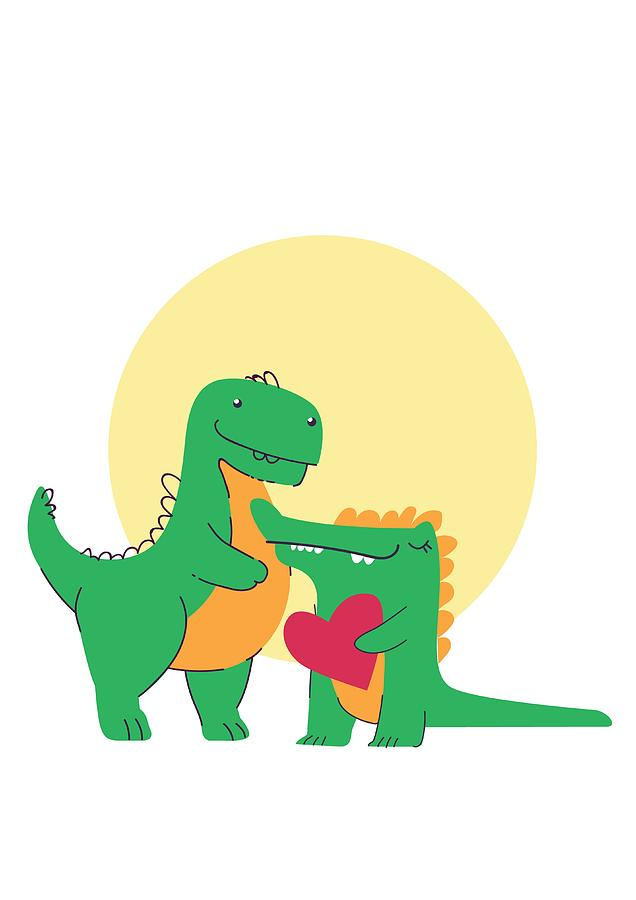 Adorable Digital Art - Dinosaur And Crocodile In Love by Passion Loft