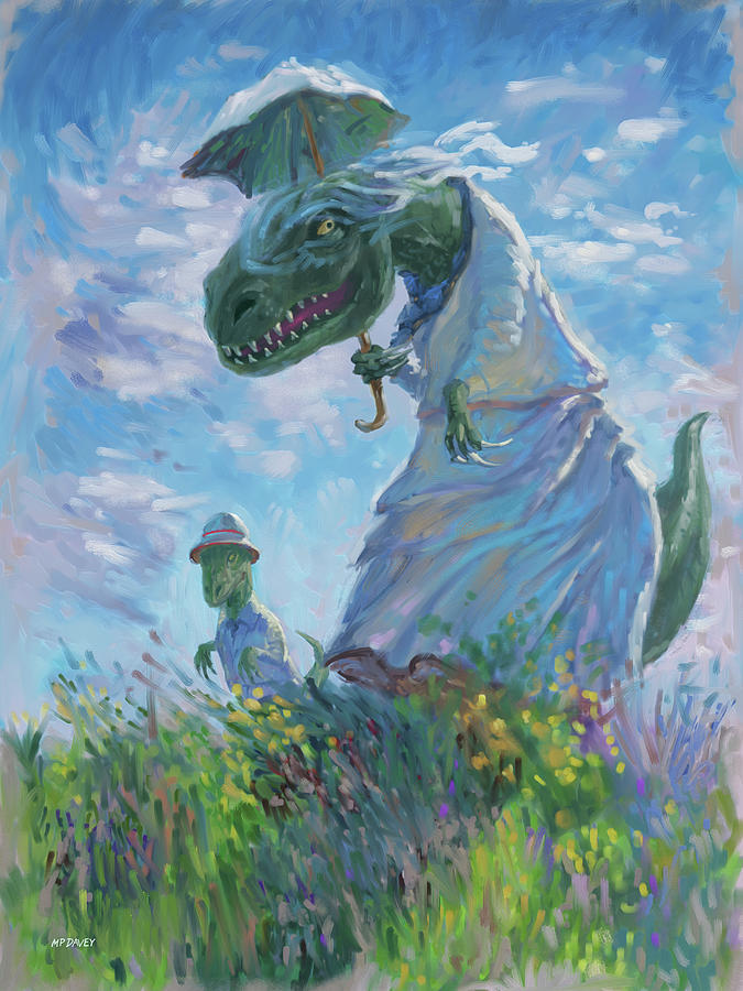 Dinosaur and son with a parasol  by Martin Davey