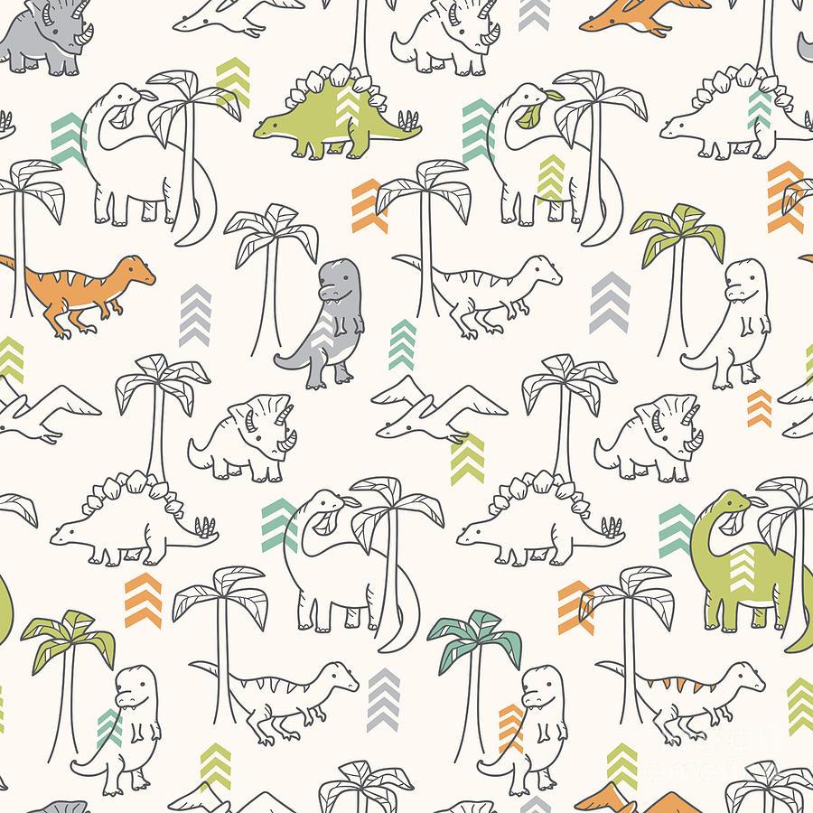 Raptor Digital Art - Dinosaur Pattern by Erica Truex
