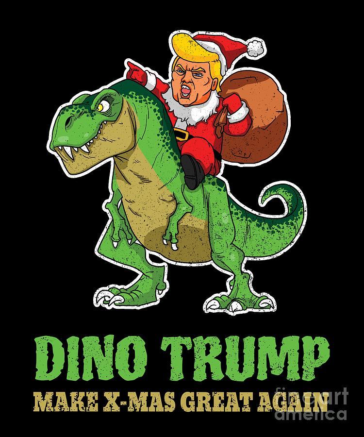 Dinosaur Christmas.Dinosaur Trump Christmas Santa Trex
