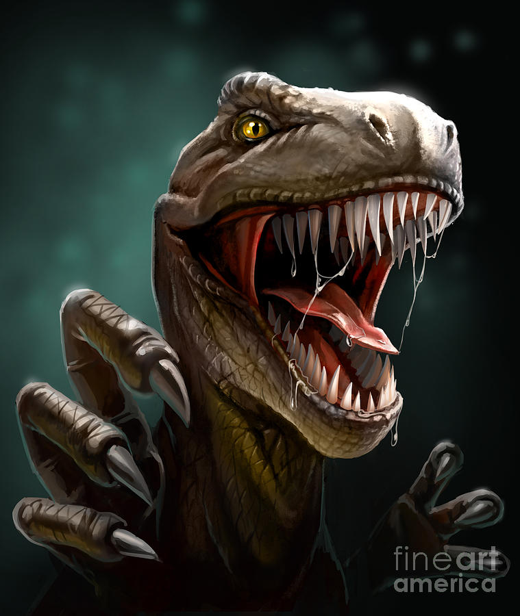 Egg Digital Art - Dinosaur With Teeth And Claws Close-up by Antracit