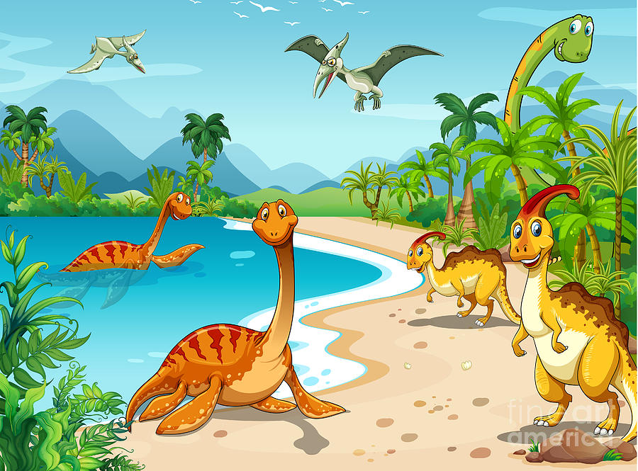 Clipart Digital Art - Dinosaurs Living On The Beach by Graphicsrf