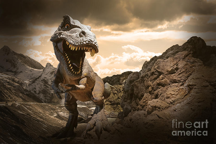 Big Photograph - Dinosaurs Model On Rock Mountain by Sahachatz