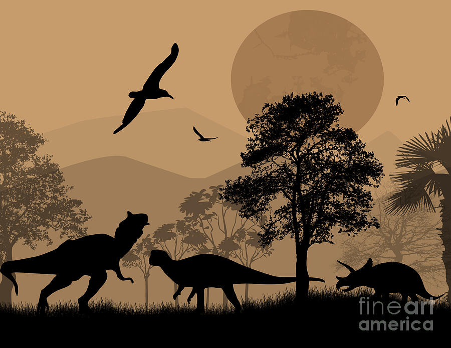 Template Digital Art - Dinosaurs Silhouettes In Beautiful by Ducu59us