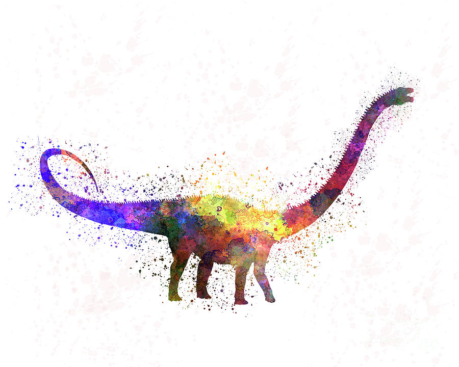 Diplodocus dinosaur in watercolor by Pablo Romero