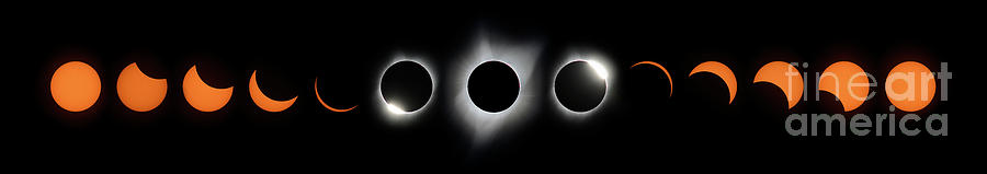 Oregon Photograph - Panoramic Composite Of Great American Solar Eclipse Of 2017 by Tom Schwabel