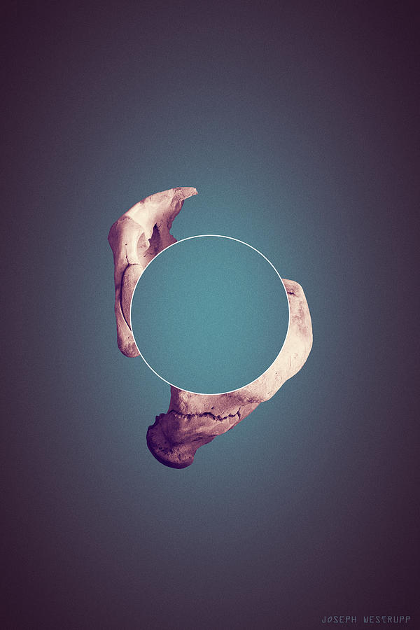 Disconnect the Dots - Surreal Abstract Elephant Bone With Circle by Joseph Westrupp