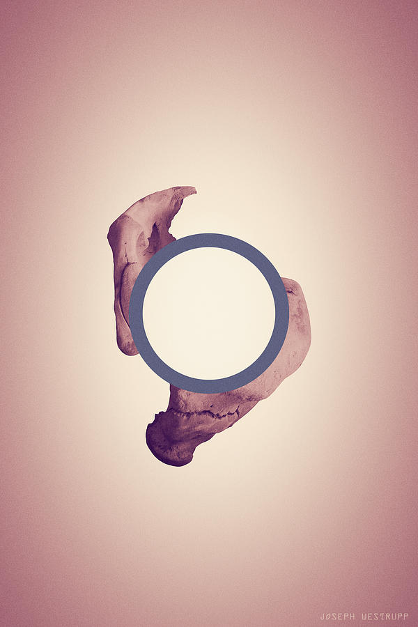 Disconnecting the Dot - Peach and Blue Surreal Abstract Circle With Bone by Joseph Westrupp
